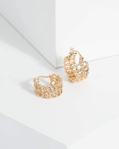 Colette by Colette Hayman Gold Double Rope Linked Hoop Earrings