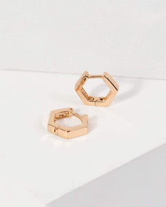 Colette by Colette Hayman Gold Hexagon Huggie Hoop Earrings