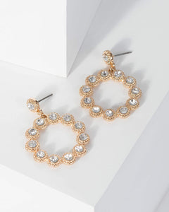 Colette by Colette Hayman Gold Multi Crystal Hoop Drop Earrings