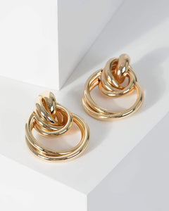 Colette by Colette Hayman Gold Multi Layer Door Knocker Earrings