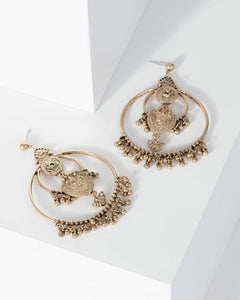 Colette by Colette Hayman Gold Patterned Disc Festival Circle Earrings