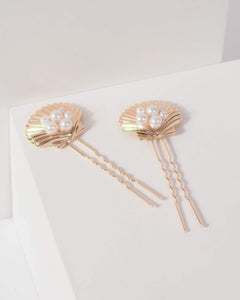 Colette by Colette Hayman Gold Pearl And Beach Pendant Hair Pin