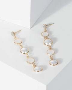 Colette by Colette Hayman Gold Pearl And Resin Detail Drop Earrings