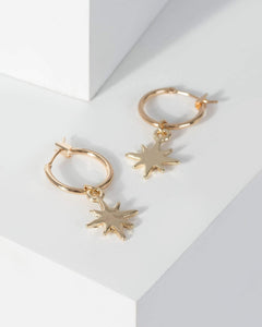 Colette by Colette Hayman Gold Star Pendant Hoop Earrings