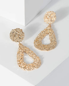 Colette by Colette Hayman Gold Textured Drop Metal Earrings
