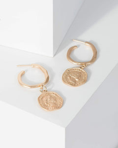 Colette by Colette Hayman Gold Textured Hoop Coin Pendant Earrings