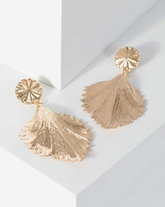 Colette by Colette Hayman Gold Textured Leaf Drop Earrings