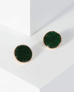 Colette by Colette Hayman Green Glitter Acrylic Stud Earrings