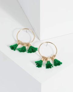 Colette by Colette Hayman Green Mini Tassel Hoop Earrings