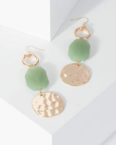 Colette by Colette Hayman Green Stone Detail Round Textured Drop Earrings