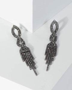 Colette by Colette Hayman Gunmetal Crystal Twist Drop Earrings