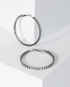 Colette by Colette Hayman Gunmetal Large Crystal Hoop Earrings