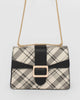 Colette by Colette Hayman Ivory And Black Check Rachel Buckle Crossbody Bag