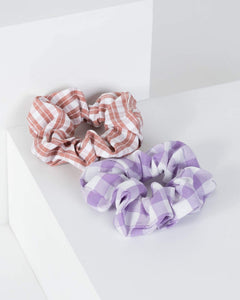 Colette by Colette Hayman Multi Colour 2 Pack Checkered Scrunchies