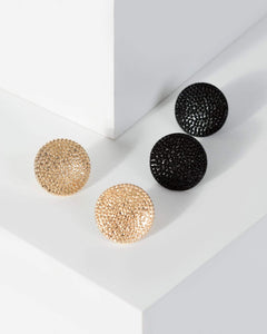Colette by Colette Hayman Multi Colour Metal Button Stud Earrings