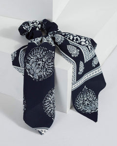 Colette by Colette Hayman Navy Blue Printed Scarf Scrunchie