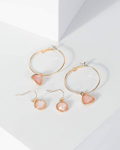 Colette by Colette Hayman Pink 2 Pack Drop And Hoop Crystal Earrings
