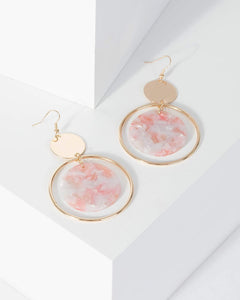 Colette by Colette Hayman Pink Acrylic Disc Drop Earrings