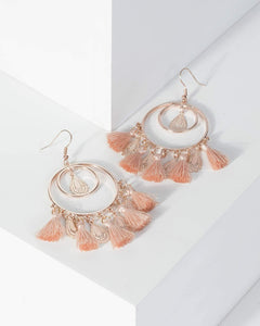 Colette by Colette Hayman Pink Circle Filigree Tassel Drop Earrings
