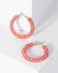 Colette by Colette Hayman Pink Coloured Glitter Hoop Earrings