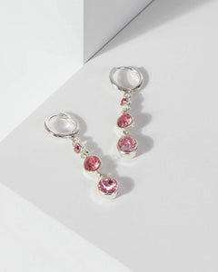 Colette by Colette Hayman Pink Crystal Drop Huggie Hoop Earrings