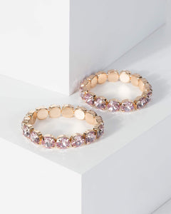 Colette by Colette Hayman Pink Large Diamante Stretch Double Pack Bracelet