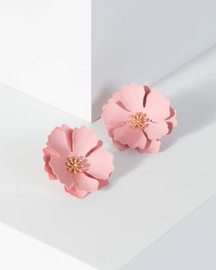 Colette by Colette Hayman Pink Large Flower Detail Earrings