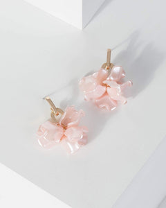 Colette by Colette Hayman Pink Linked Chain Multi Petal Detail Earrings