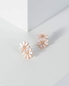 Colette by Colette Hayman Pink Small Flower Crystal Detail Earrings