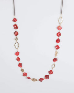 Colette by Colette Hayman Red Textured And Acrylic Detail Necklace