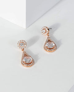 Colette by Colette Hayman Rose Gold Cubic Zirconia Double Round Drop Earrings
