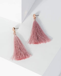 Colette by Colette Hayman Rose Gold Disc Stud Tassel Earrings