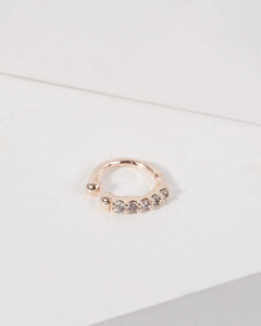 Colette by Colette Hayman Rose Gold Fine Band Pave Cuff Earring