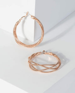 Colette by Colette Hayman Rose Gold Metal Twist Hoop Earrings