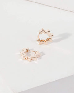Colette by Colette Hayman Rose Gold Star Point Huggie Hoop Earrings
