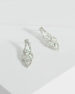Colette by Colette Hayman Silver Crystal Cup Chain Drop Earrings