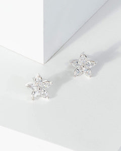 Colette by Colette Hayman Silver Crystal Flower Stud Earrings