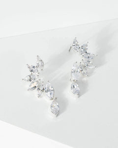 Colette by Colette Hayman Silver Cubic Zirconia Curled Leaf Drop Earrings
