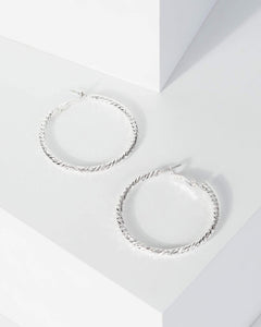 Colette by Colette Hayman Silver Detail Medium Hoop Earrings