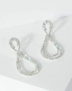 Colette by Colette Hayman Silver Double Rounded Diamante Detail Drop Earrings