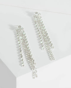 Colette by Colette Hayman Silver Large And Small Diamante Detail Drop Earrings