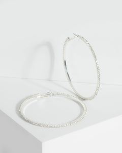 Colette by Colette Hayman Silver Large Diamante Encrusted Thin Hoop Earrings