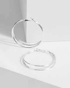 Colette by Colette Hayman Silver Large Fine Double Hoop Earrings