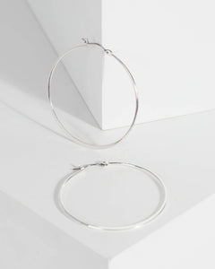Colette by Colette Hayman Silver Large Metal Hoop Earrings