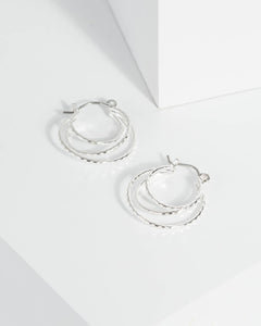 Colette by Colette Hayman Silver Layer Hoop Earrings