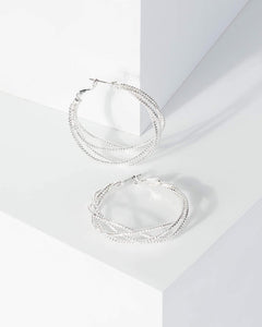 Colette by Colette Hayman Silver Metal Twist Hoop Earrings