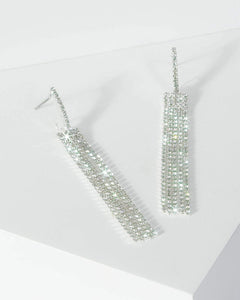 Colette by Colette Hayman Silver Multi Diamante Bar And Tassel Drop Earrings