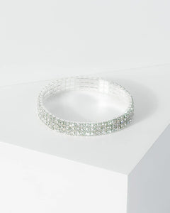 Colette by Colette Hayman Silver Multi Row Diamante Stretch Bracelet