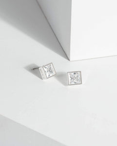 Colette by Colette Hayman Silver Solid Square Stud Earrings
