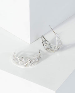 Colette by Colette Hayman Silver Square Crystal Detail Earrings